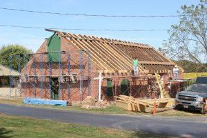 Restoration work in progress on the Buena Vista pole barn