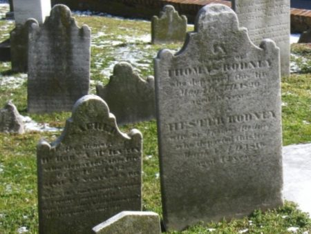 Tombstones in St. Peter's Episcopal Church graveyard. Walking tours on Oct. 28 will explore this historic burial ground.