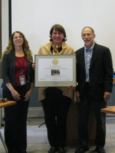 (From left) Deputy State Historic Preservation Officer Gwen Davis; Dee Durham, owner of 901 Mount Lebanon Road; and John Martin, vice chair of the Delaware State Review Board for Historic Preservation