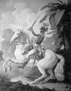 Portrait of Toussaint L'Ouverture on his horse Bel-Argent by Denis A. Volozan, pen and wash, circa 1800