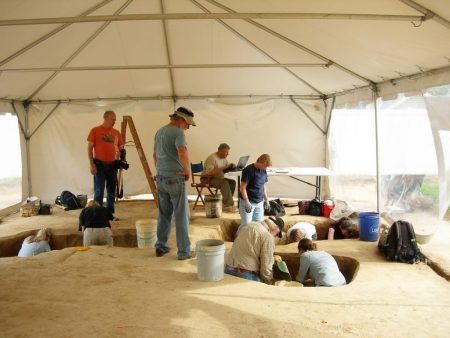 Archaeologists and volunteers working at the Avery's Rest site.