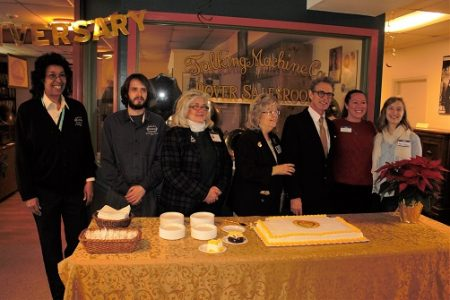 Celebrating the 50th anniversary of the Johnson Victrola Museum on Dec. 14, 2017. From left: Museum staff members Nena Todd, Chris Hall, Susan Emory, Jackie Collins and Steven Mumford; and Johnson family members Fletcher Johnson and Anne Fenimore.