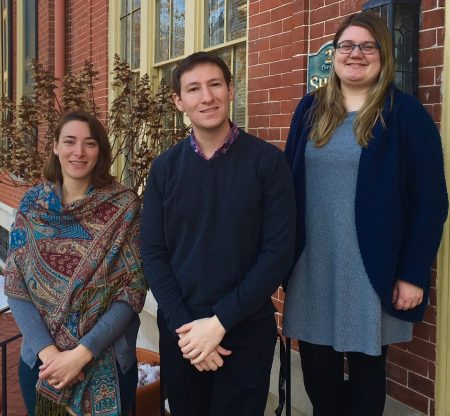 Three of the newest members of the Division of Historical and Cultural Affairs' team. From left: Laura Walsh, Ed Larrivee and Sara Clendaniel