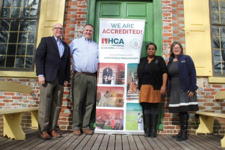 State Sen. Colin Bonini visits the John Dickinson Plantation in celebration of the Division of Historical and Cultural Affairs' accreditation by the American Alliance of Museums. From left: division director Tim Slavin, Bonini, site-supervisor Gloria Henry and historic-site interpreter Vertie Lee