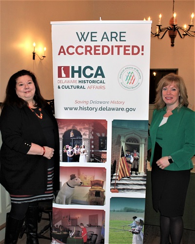 State Sen. Nicole Poore (right) visits the New Castle Court House Museum in celebration of the Division of Historical and Cultural Affairs' accreditation by the American Alliance of Museums. At left is the museum's site supervisor Cindy Snyder.