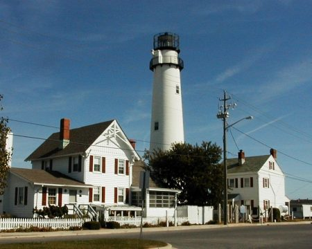 Fenwick Island Lighthouse complex. The keeper's house is on the left.