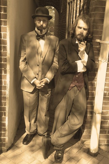 """Historical interpreters Gavin Malone (left), as Dr. Watson, and Chris Hall, as Sherlock Holmes, will appear in the play """"The Empty Glass: Sherlock Holmes Comes to Dover"""" at The Old State House on Aug. 18, 2018."""