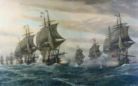Painting depicting the Battle of the Chesapeake from the Hampton Roads Naval Museum, Norfolk, Va.