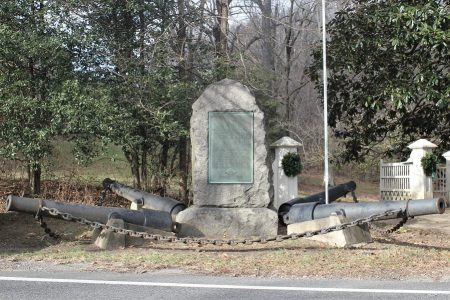 Battle of Cooch's Bridge monument in front of the entrance to the Cooch property
