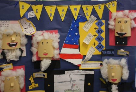 Detail from Bunker Hill Elementary School's display which was awarded the George Read Award in the 2018 Delaware Fourth Grade Competition.