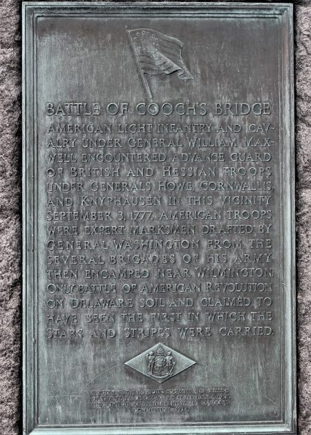 Plaque from the Cooch's Bridge monument