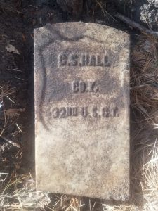 Headstone of C.S. Hall of the United States Colored Troops. The headstone was found on the Orr property (Hall Plantation).