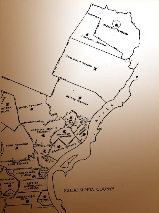 Image: Map showing Byberry Township, Pennsylvania