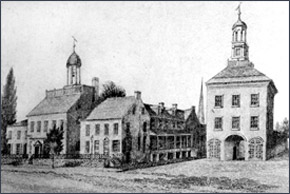Image: Court House, Jail, and Town Hall in New Castle