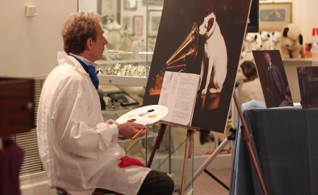 """Museum interpreter Steven Mumford will portray Francis Barraud, the artist who painted """"His Master's Voice,"""" at the Johnson Victrola Museum on April 6, 2019."""