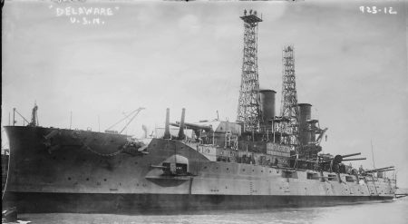 "The battleship USS Delaware (1909-1924). The vessel will be discussed during the lecture ""American Naval Ships Named Delaware"" that will be presented by author and retired U.S. Navy Captain Bill Manthorpe during the Zwaanendael Maritime Festival on May 25, 2019."