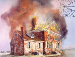 Illustration of the John Dickinson Plantation on fire