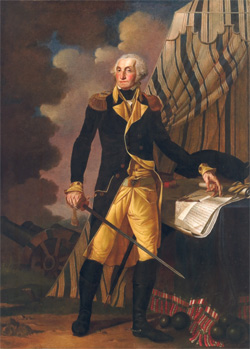 Portrait of George Washington by Denis A. Volozan, oil on canvas, 7' by 5', 1802.