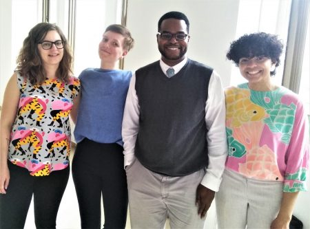 Carlton Hall with participants in the 2019 New York State Preservation Conference. (From left) Caitlin Meives, co-founder of Young Urban Preservationists of Rochester and preservation planner for the Landmark Society of Western New York; Sarah Marsom, founder of Young Ohio Preservationists; Hall; and Zulmilena Then, founder of Preserving East New York.