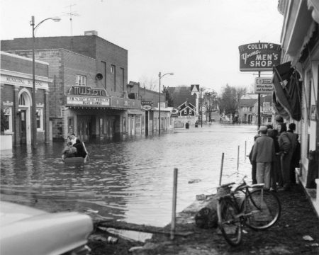 Flooding along Union Street in front of the Milton Theatre in Milton, Del. after the March 1962 nor'easter. Disaster preparedness for historic properties will be explored as part of the historic preservation symposium on June 26, 2019.