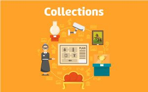 "Image: Historic object illustrations tittled ""Collections"""
