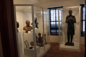 Section of the exhibit showcasing sculptures by Charles Parks