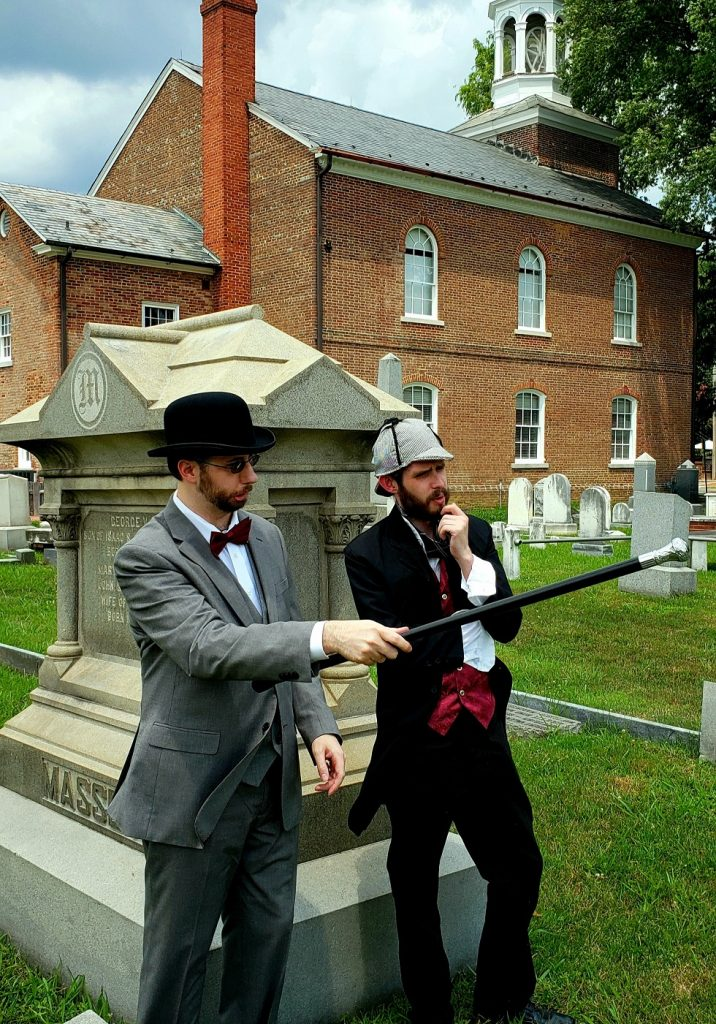 Photo of historical interpreters Gavin Malone as Dr. Watson, and Chris Hall, as Sherlock Holmes.