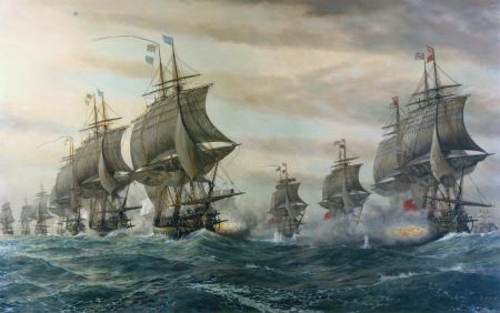 Painting depicting the Battle of the Chesapeake