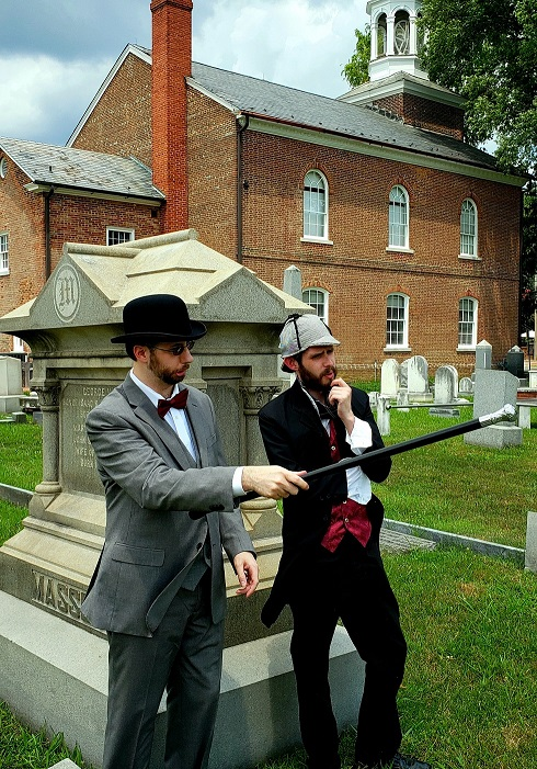 Photo of Gavin Malone as Dr. Watson, and Chris Hall as Sherlock Holmes