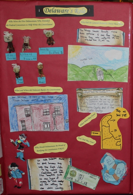 Photo of a panel from Lake Forrest Elementary School's display for the 2019 Delaware Day Fourth Grade Competition