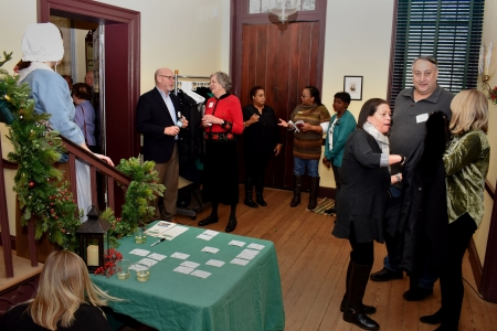 Photo of guests arriving for the Friends of the John Dickinson Mansion holiday gathering.