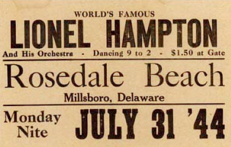 Poster advertising Lionel Hampton's performance at Rosedale Beach