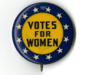 Photo of a women's suffrage button