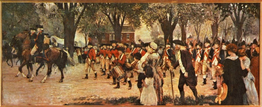 Painting of troops leaving Dover Green