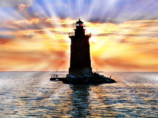"Photo of ""Delaware Breakwater East End Light at Sunset"" by Barb Moulinier"