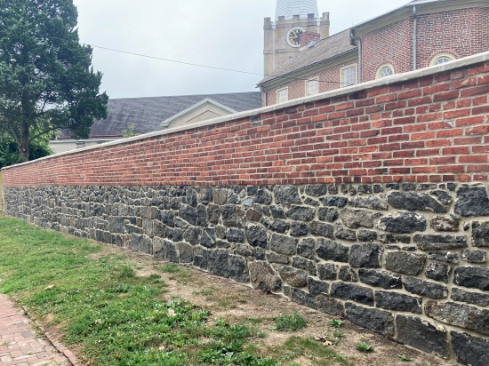Photo of the New Castle Academy garden wall after repairs