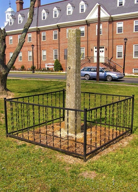 Photo of the whipping post formerly located on the grounds of the Old Sussex County Court House in Georgetown, Del.