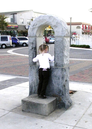 Photo of a child drinking from the Women's Christian Temperance Union Fountain