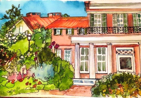 Photo of a watercolor of the Buena Vista mansion house by Mary Lou Hamilton