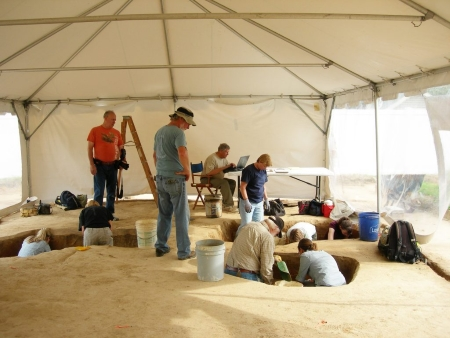 Photo of archaeologists and volunteers working at the Averys Rest archaeological site.