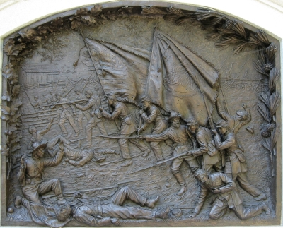 Photo of the bas relief from the State of Delaware monument at Gettysburg National Military Park