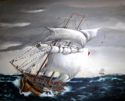 Photo of a painting depicting the capsizing of the DeBraak