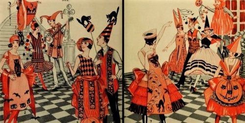 Illustration from a 1920s advertisement for Crêpe paper which could be used to create Halloween costumes.