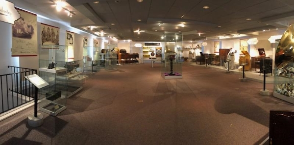 Wide-angle photo of the Johnson Victrola Museum's second floor gallery