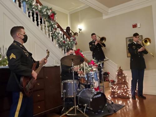 Photo of an ensemble featuring the 287th Army Band's trombone quartet