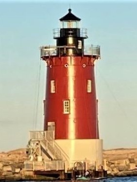 Photo of the Delaware Breakwater East End Lighthouse after painting completed