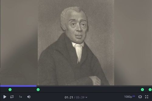 "Screen shot from the ""Expanding the Delaware Story"" video about Bishop Richard Allen."