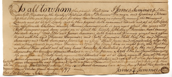 Photo of the 1797 manumission document in which James Summers freed his own children from slavery.