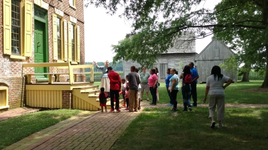 Photo of visitors taking a tour at the John Dickinson Plantation.