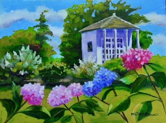 Photo of an oil painting of the Buena Vista play house by Martha Pelleggi